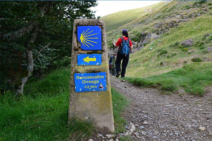 Hito kilométrico en Roncesvalles