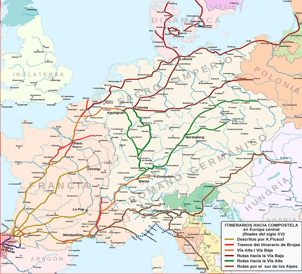 Mapa con las principales rutas del Camino de Santiago en Europa