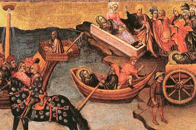 Escena de la Traslatio de los restos apostólicos